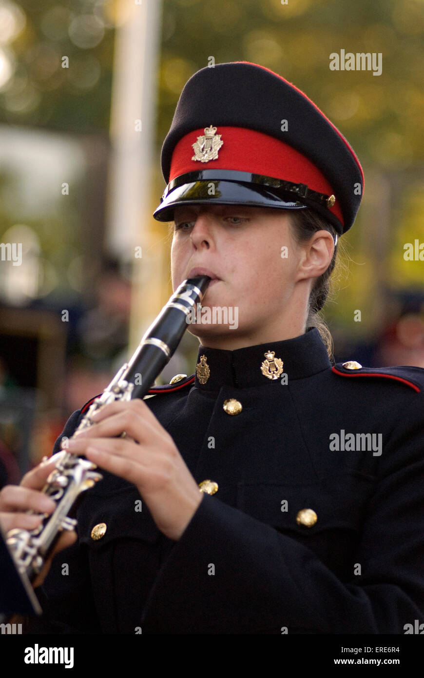 Royal Military School of Music - Concert in the Park, military personnel playing clarinet at Kneller Hall, Twickenham, Stock Photo