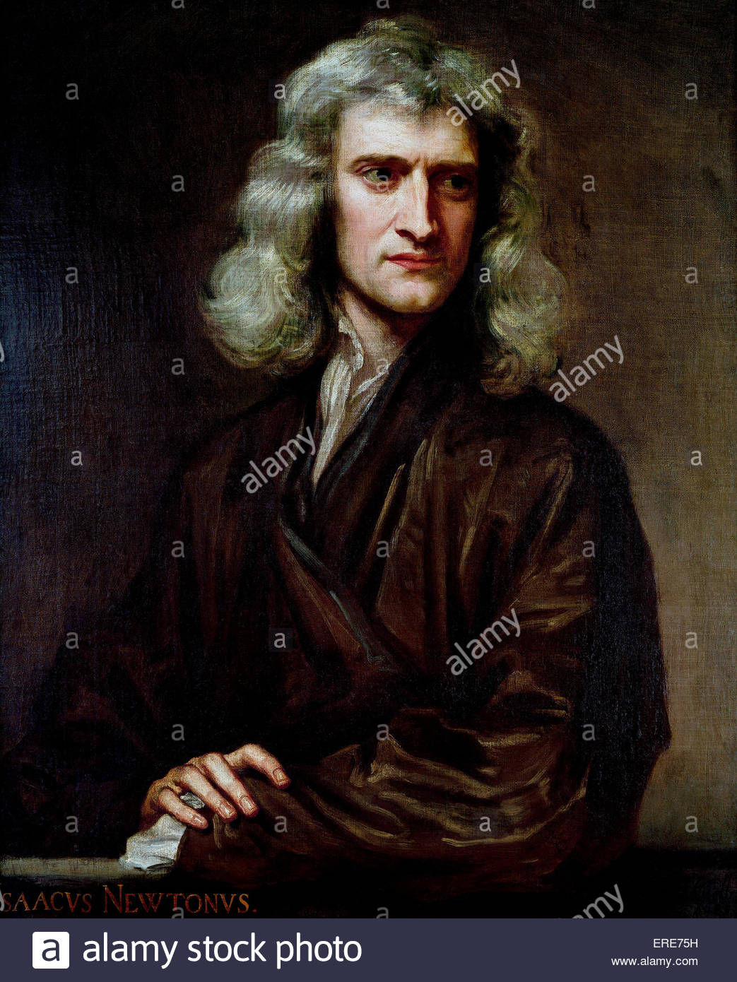 Sir Isaac Newton (aged 46)  by  Sir G Kneller dated 1689.(courtesy of Uckfield House, Uckfield).   English physicist, - Stock Image