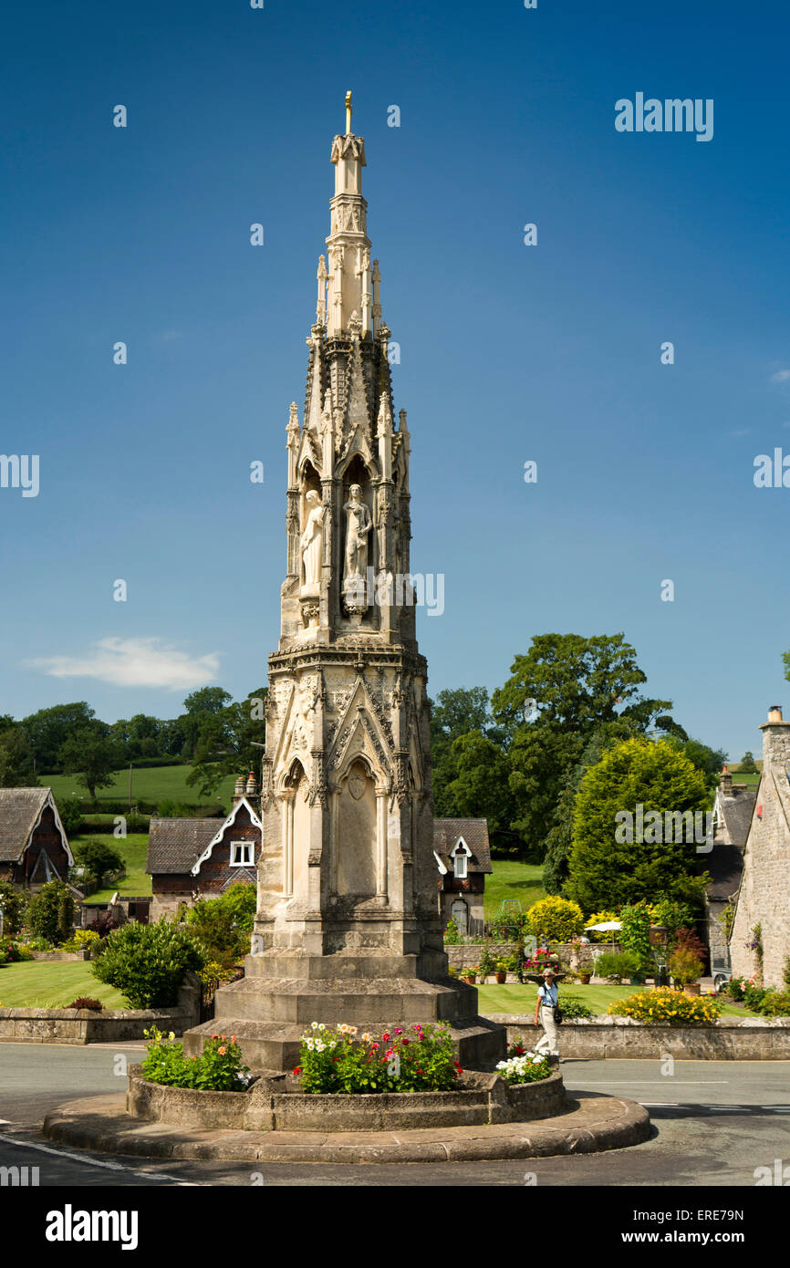 UK, England, Staffordshire, Ilam, Mary Watts-Russell Memorial Cross erected in 1840 - Stock Image