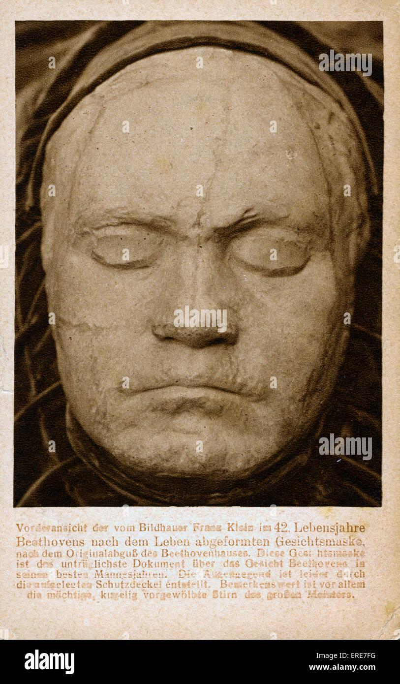 Ludwig van Beethoven life mask by Franz Klein, taken 1812. Postcard. LVB: German composer and pianist, 16 December - Stock Image