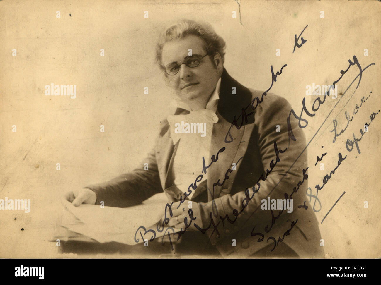 Frederick Blamey as Franz Schubert, impersonation. Postcard. - Stock Image