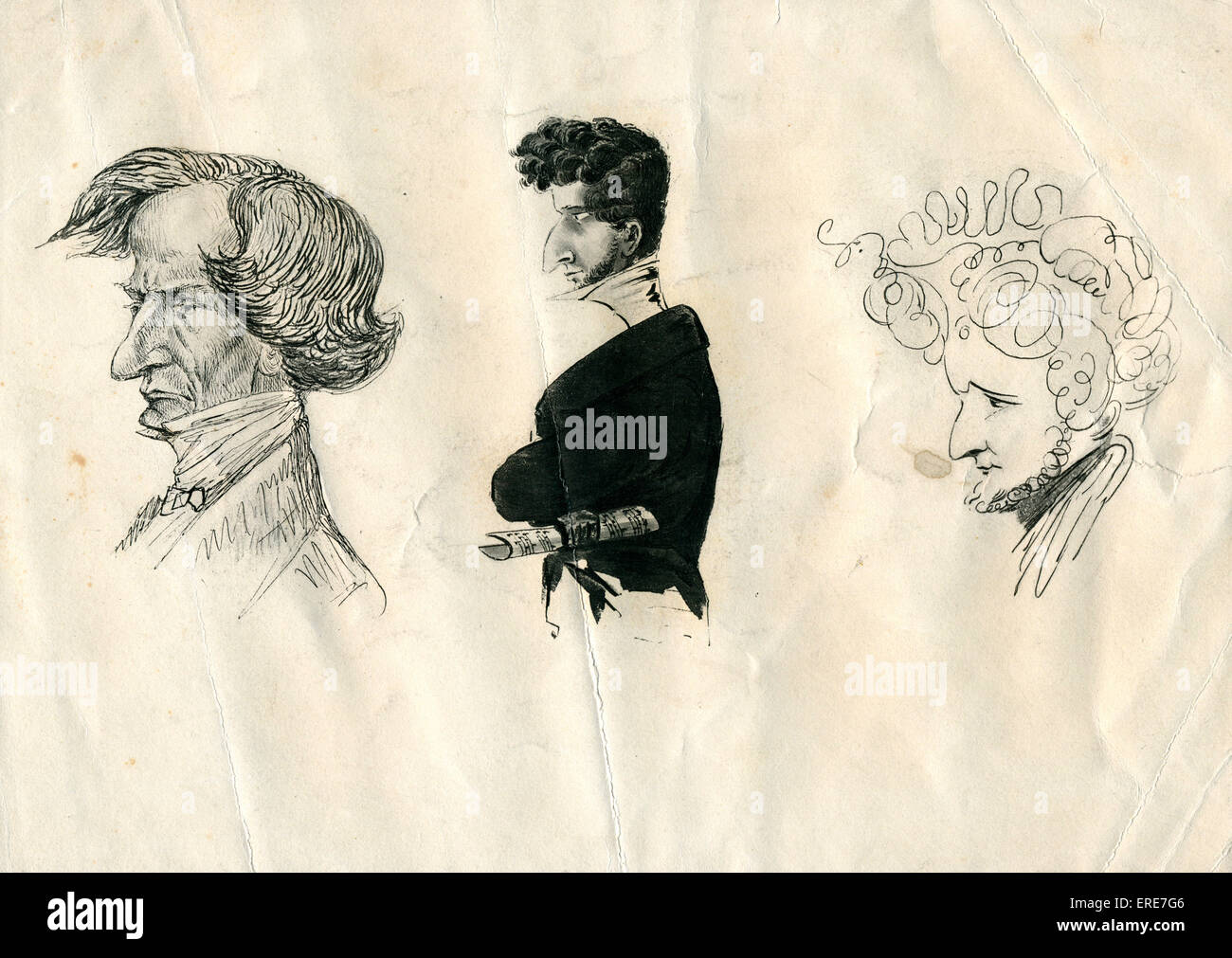 Portrait of Hector Berlioz - three caricatures.  Lithograph. HB: French Romantic composer, 11 December 1803 - 8 - Stock Image