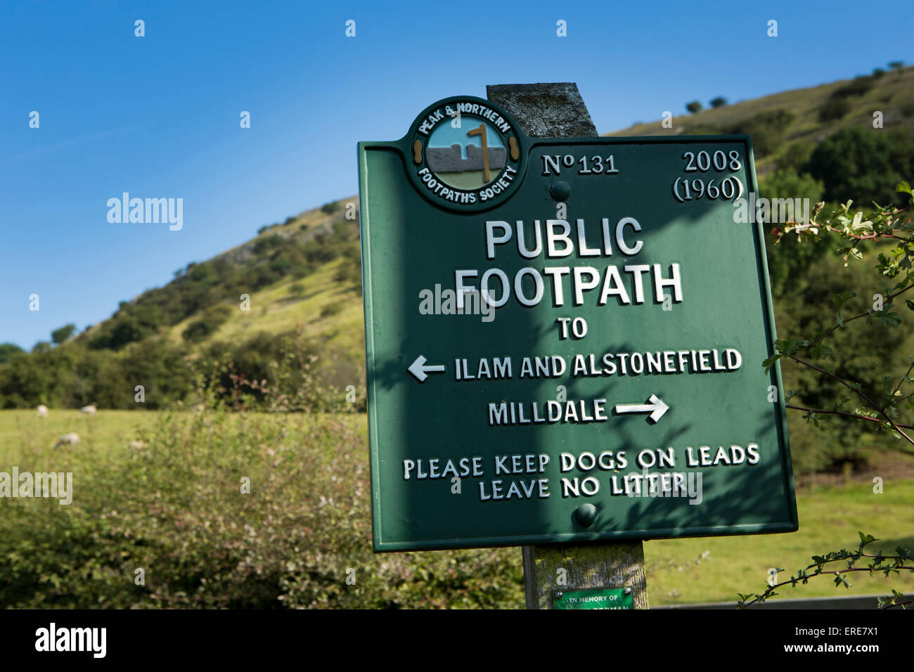UK, England, Staffordshire, Ilam, Peak and Northern Footpaths Society public path sign through Dovedale to Milldale - Stock Image