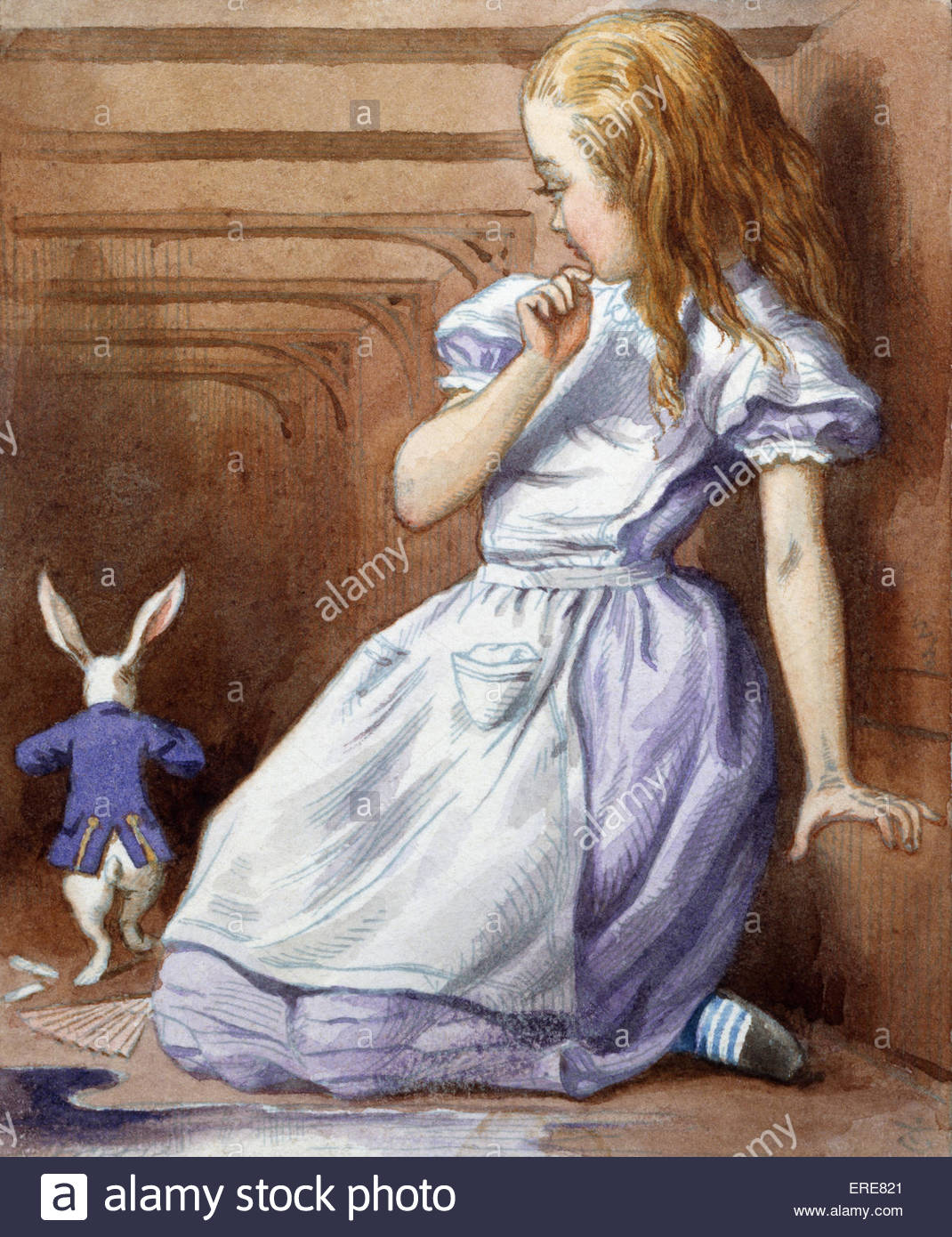 Alice and the White Rabbit, from Alice in Wonderland by Lewis Carroll (Charles Lutwidge Dodgson), English children's - Stock Image