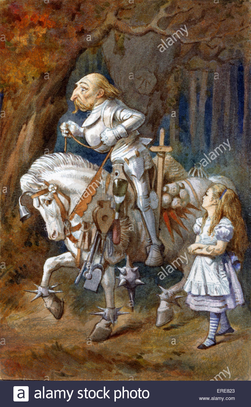White Knight, from Alice in Wonderland by Lewis Carroll (Charles Lutwidge Dodgson), English children's writer - Stock Image