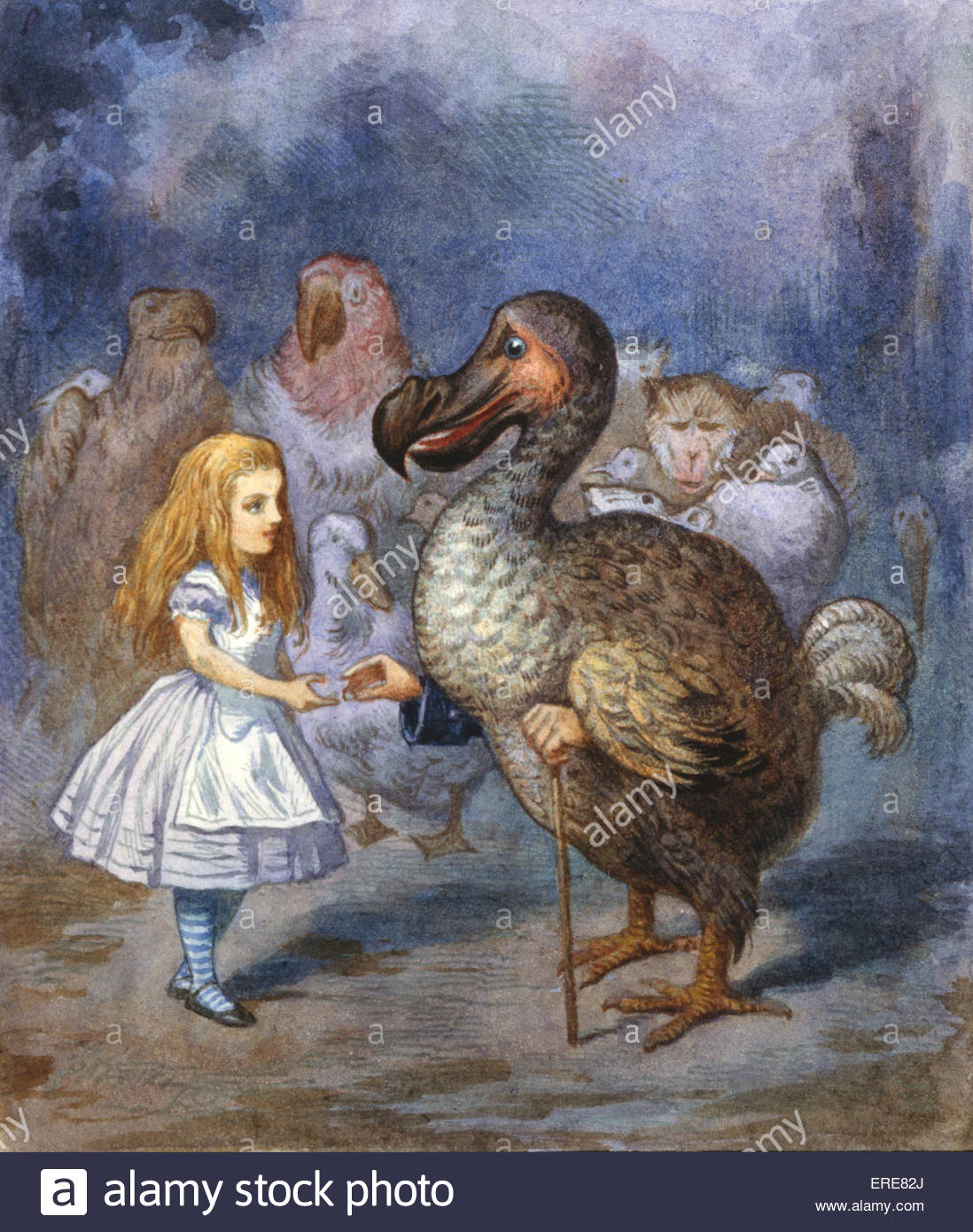 Alice And The Dodo, from Alice in Wonderland by Lewis Carroll (Charles Lutwidge Dodgson), English children's - Stock Image