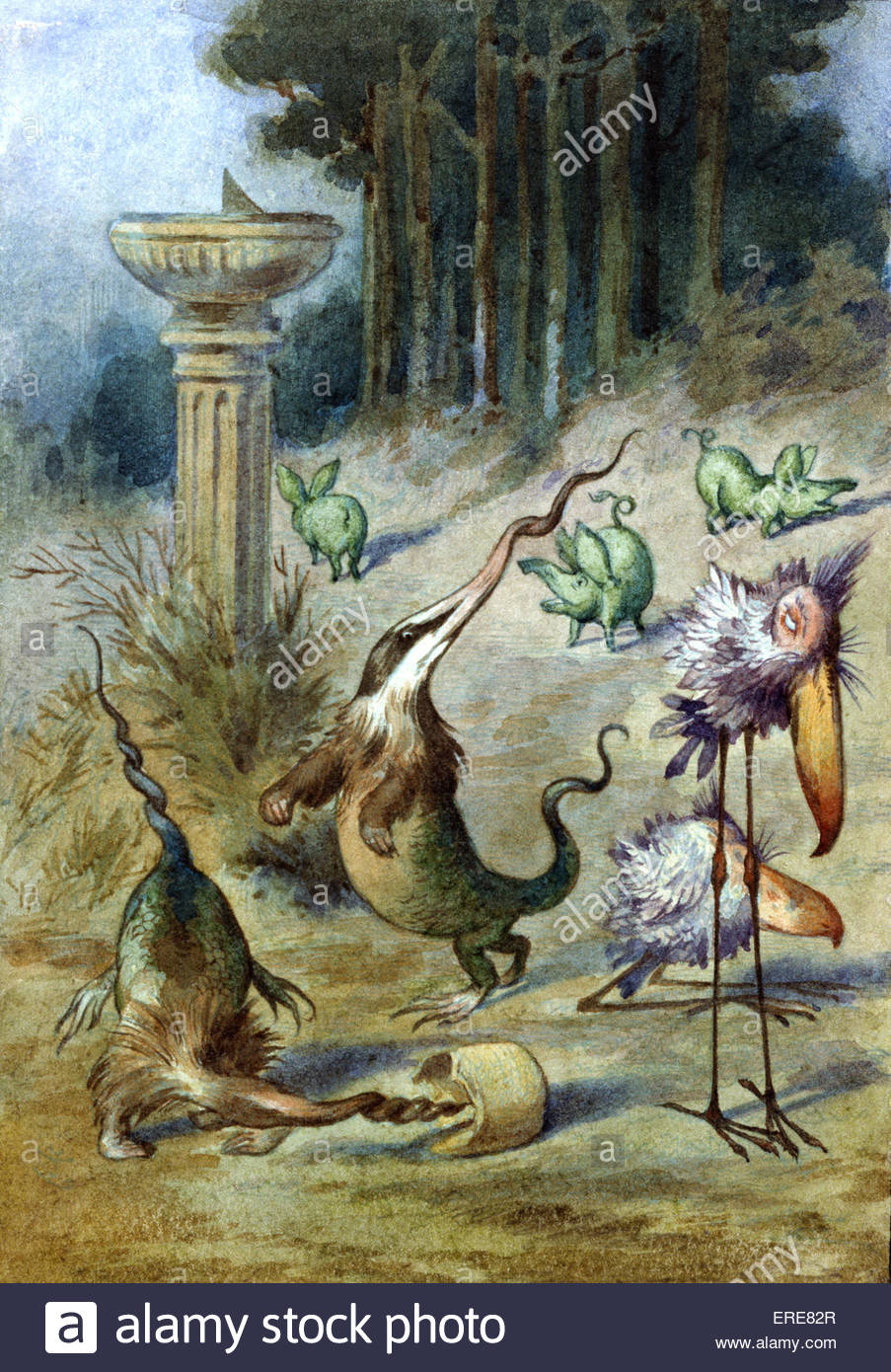 Garden With Sundial, from Alice in Wonderland  by Lewis Carroll (Charles Lutwidge Dodgson), English children's - Stock Image