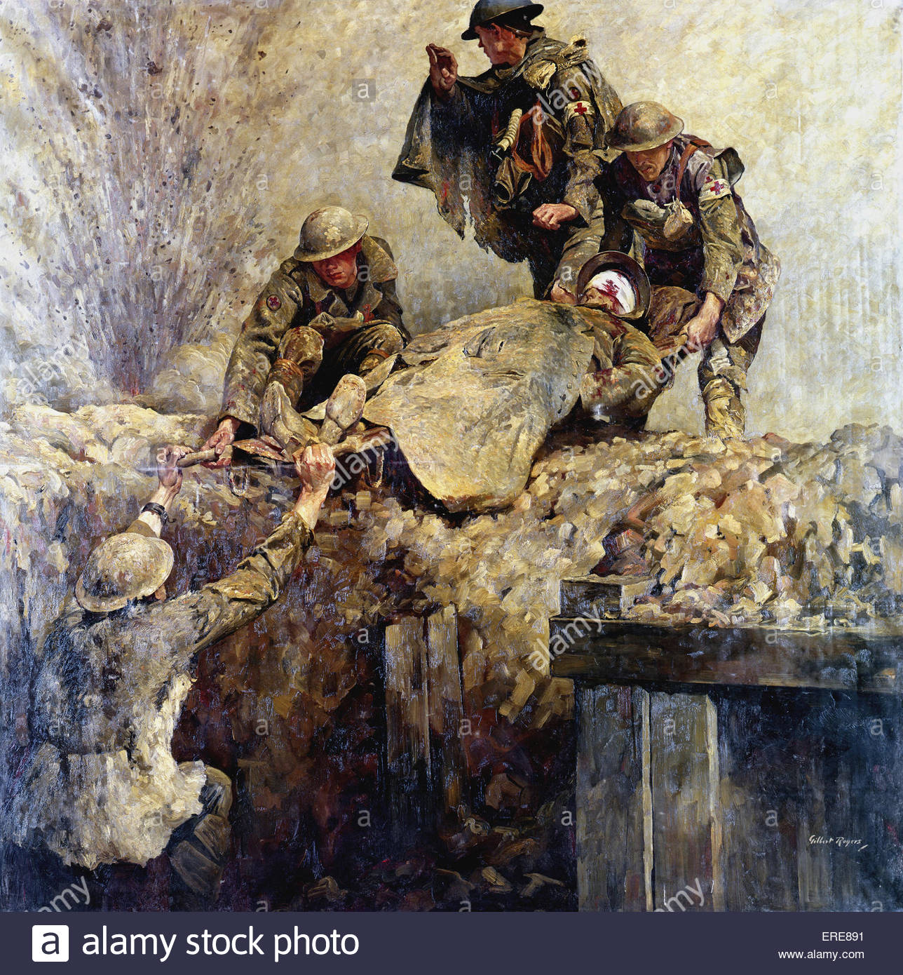 In The Wake of The Advance, painting by Gilbert Rogers. - Stock Image