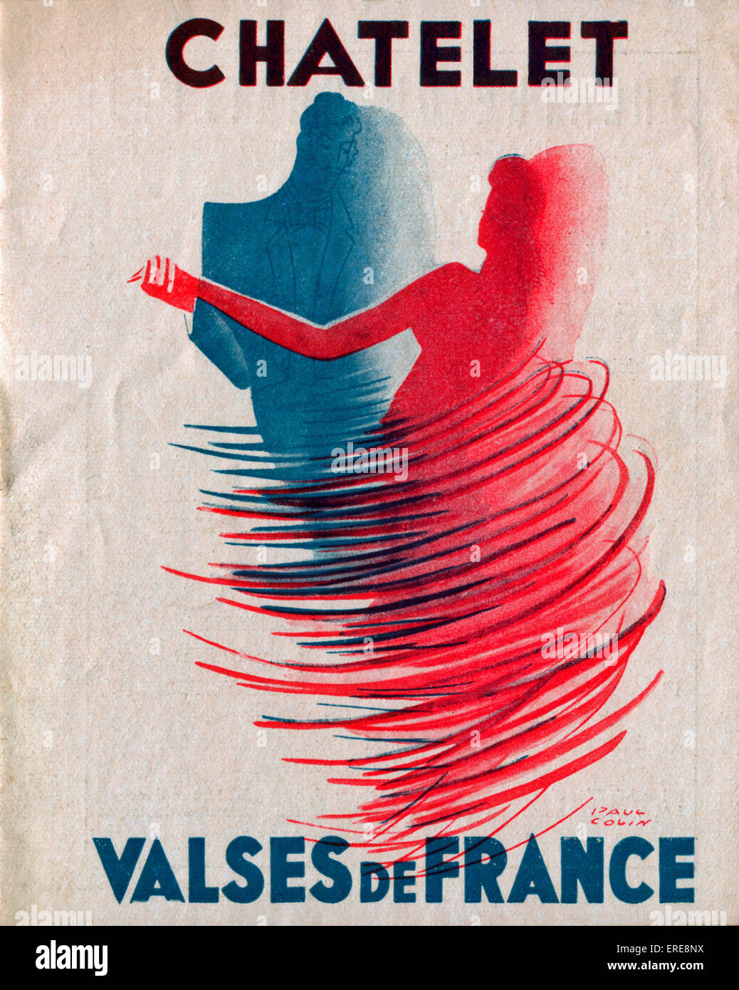 Postwar programme for the Châtelet Theatre in Paris, c. 1948, with an abstract drawing of a waltzing couple. - Stock Image
