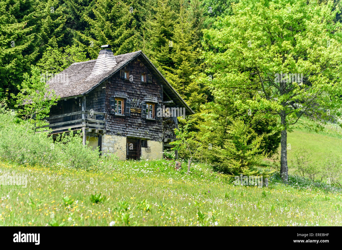 Chalet house in the mountains of Switzerland - Stock Image