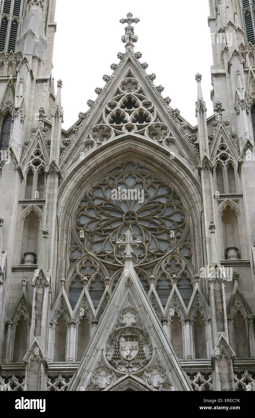 St. Patrick's Cathedral is the largest decorated gothic-style Catholic cathedral in the United States. It is the Stock Photo