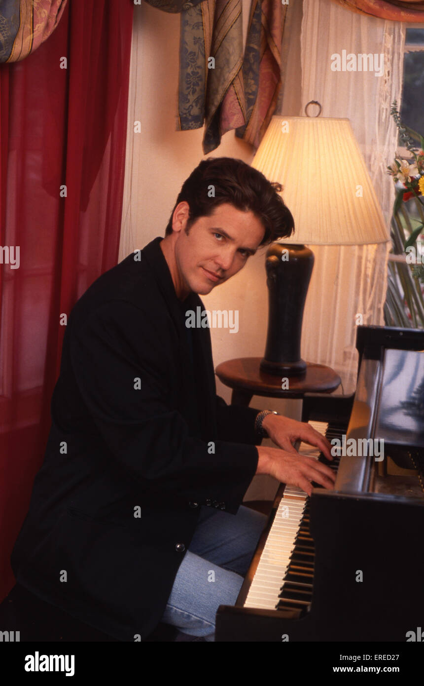 Michael Damian, portrait, playing the piano in Los Angeles, USA. American actor, singer and producer, b April 26, - Stock Image