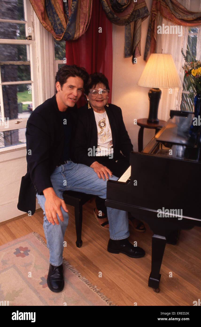 Michael Damian, portrait with his mother, Los Angeles, USA. American actor, singer and producer, b April 26, 1962 Stock Photo