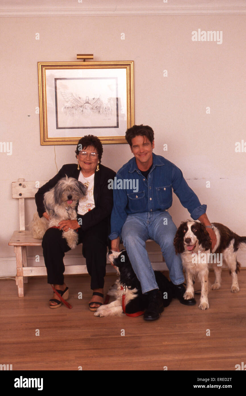 Michael Damian, portrait with his mother and dogs in Los Angeles, USA. American actor, singer and producer, b April - Stock Image