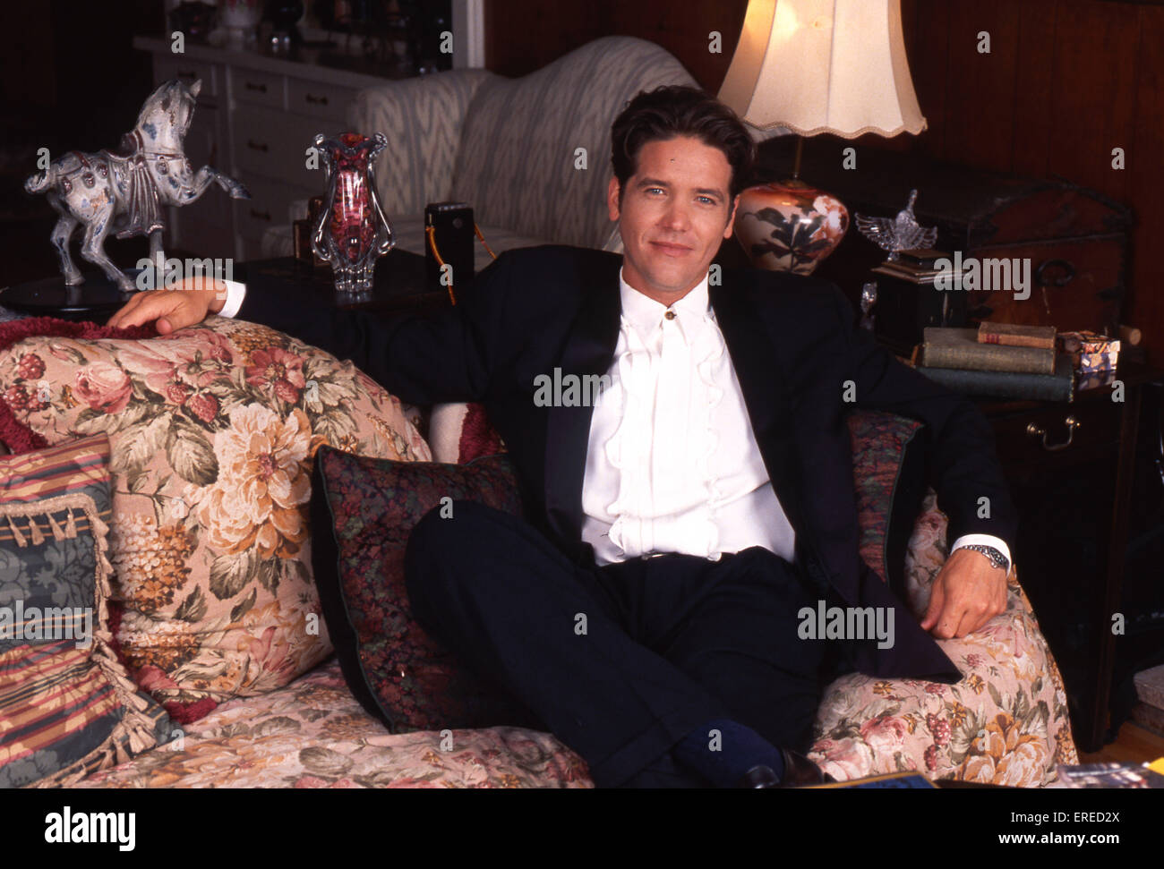 Michael Damian, portrait in his home in Los Angeles, USA. American actor, singer and producer, b April 26, 1962 - Stock Image