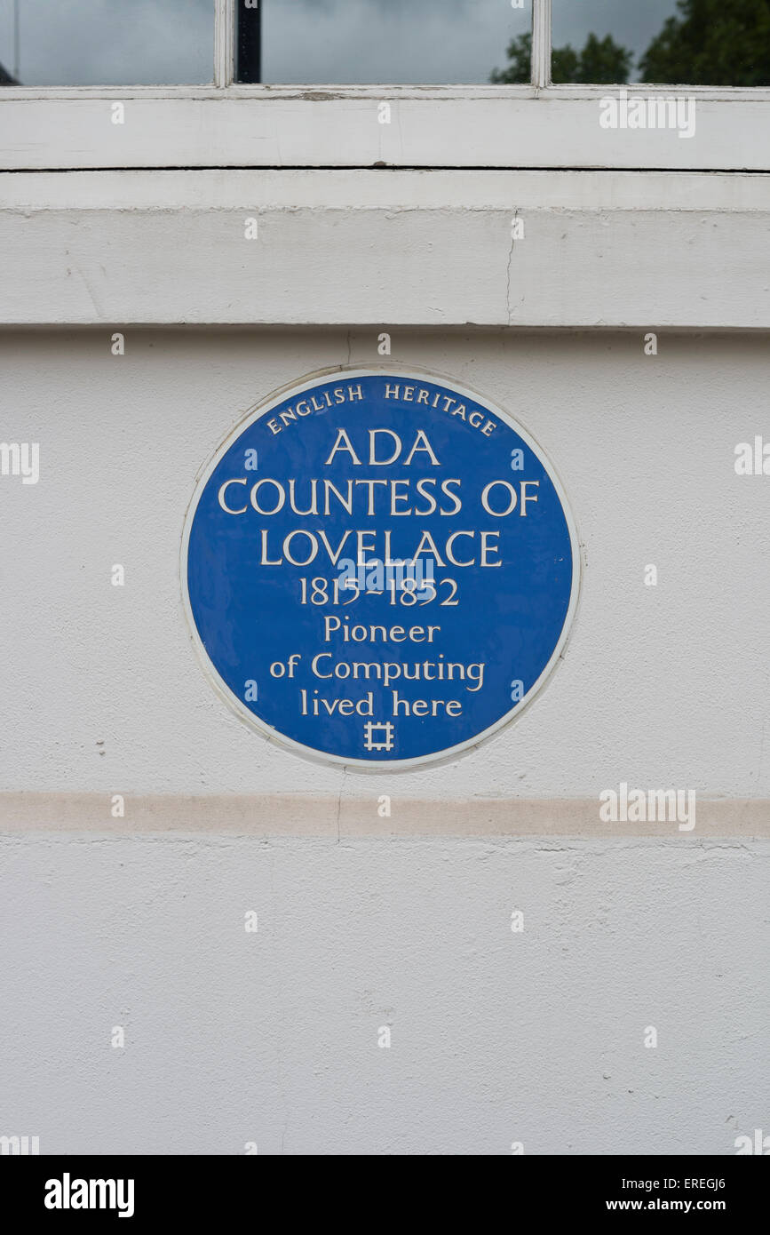 Blue plaque commemorating Ada Countess of Lovelace in Saint James's Square, London - Stock Image