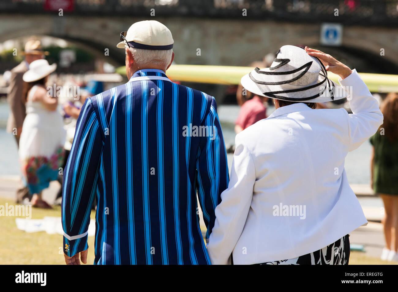 Senior couple at the Henley Royal Regatta , Henley on Thames uk - Stock Image