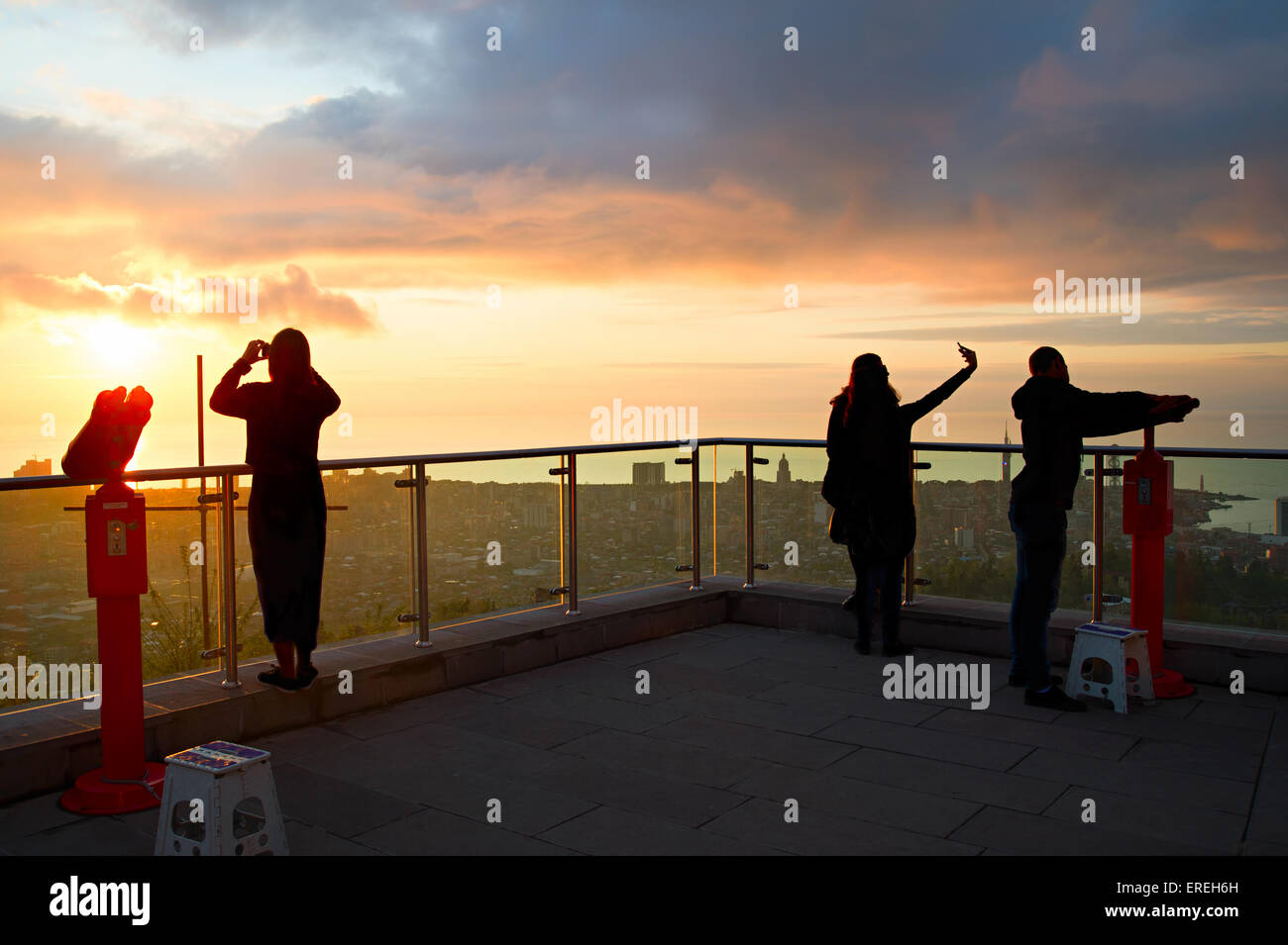 Silhouette of a people at viewpoint in Batumi, Georgia - Stock Image