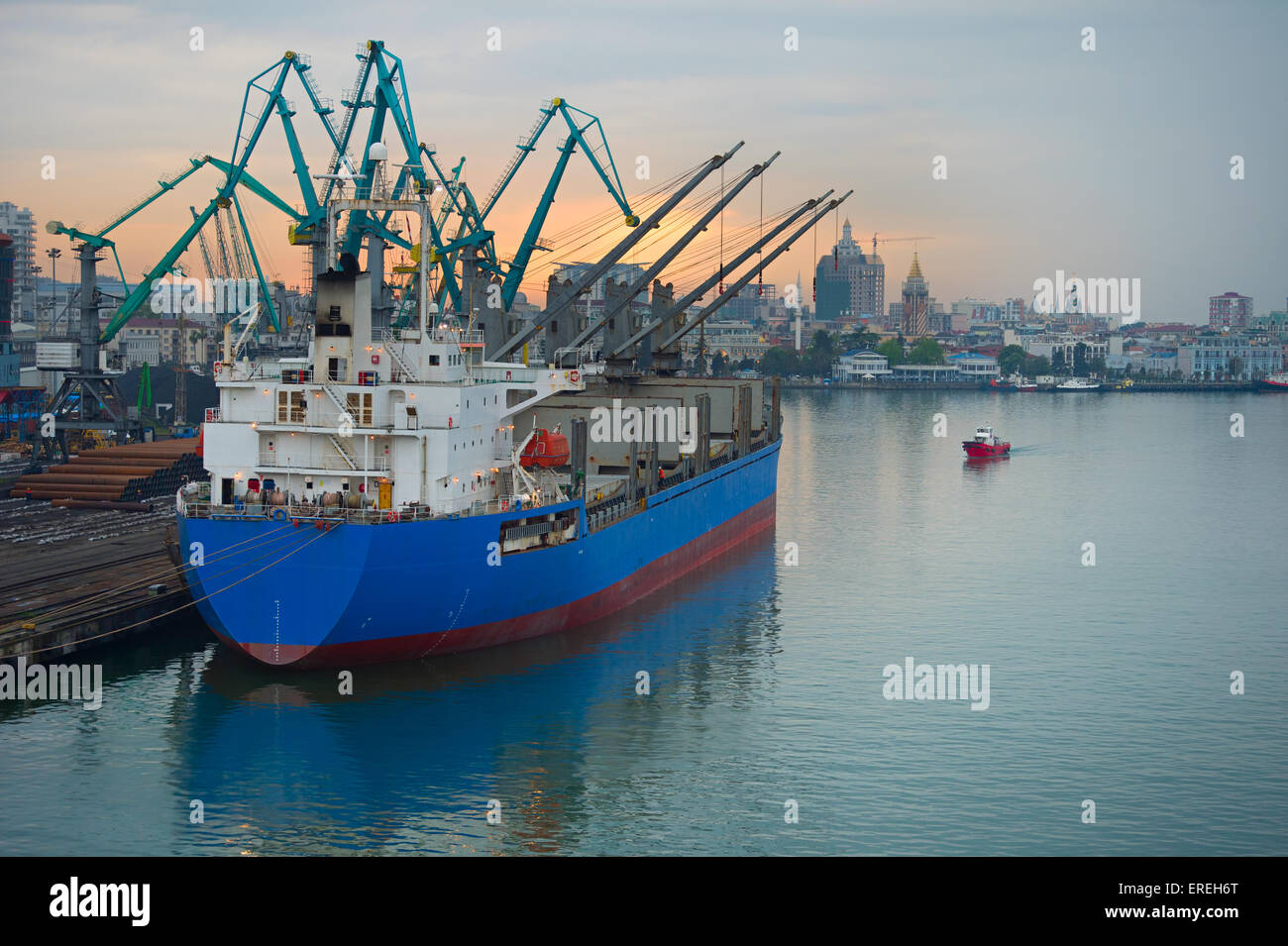Industrial ship in Batumi port at dusk. Georgia - Stock Image
