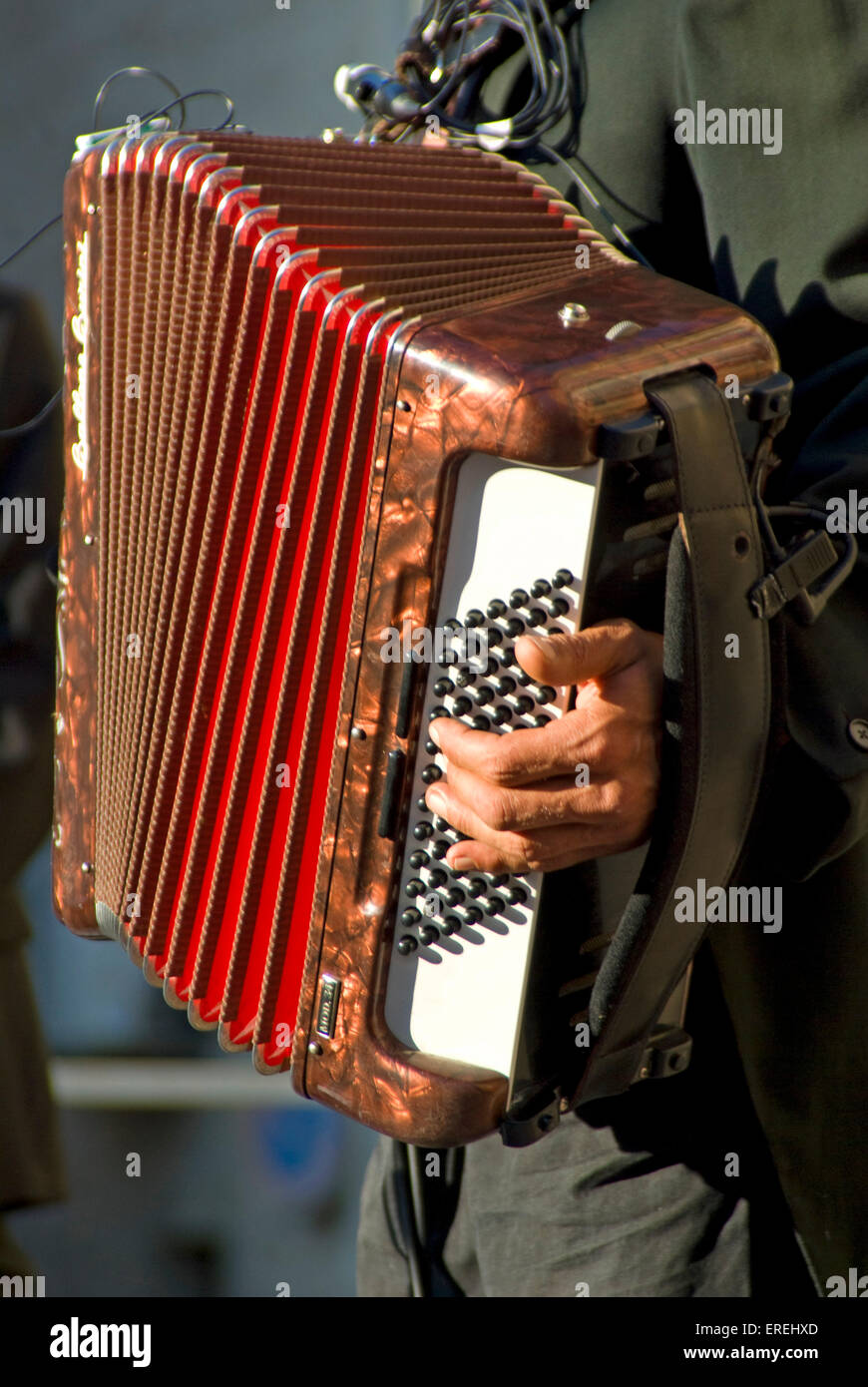 Close-up of accordionist's left hand on buttons, of piano accordion. - Stock Image