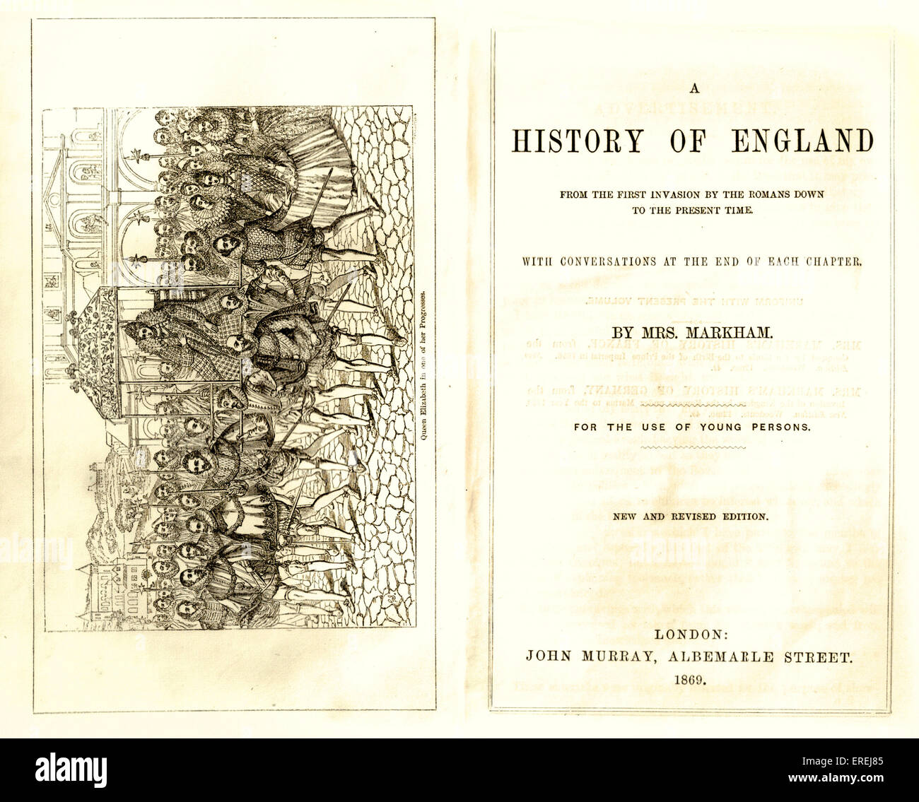 Title page and frontispiece of 'A History of England', by Mrs Markham, 'For the use of young persons'. - Stock Image