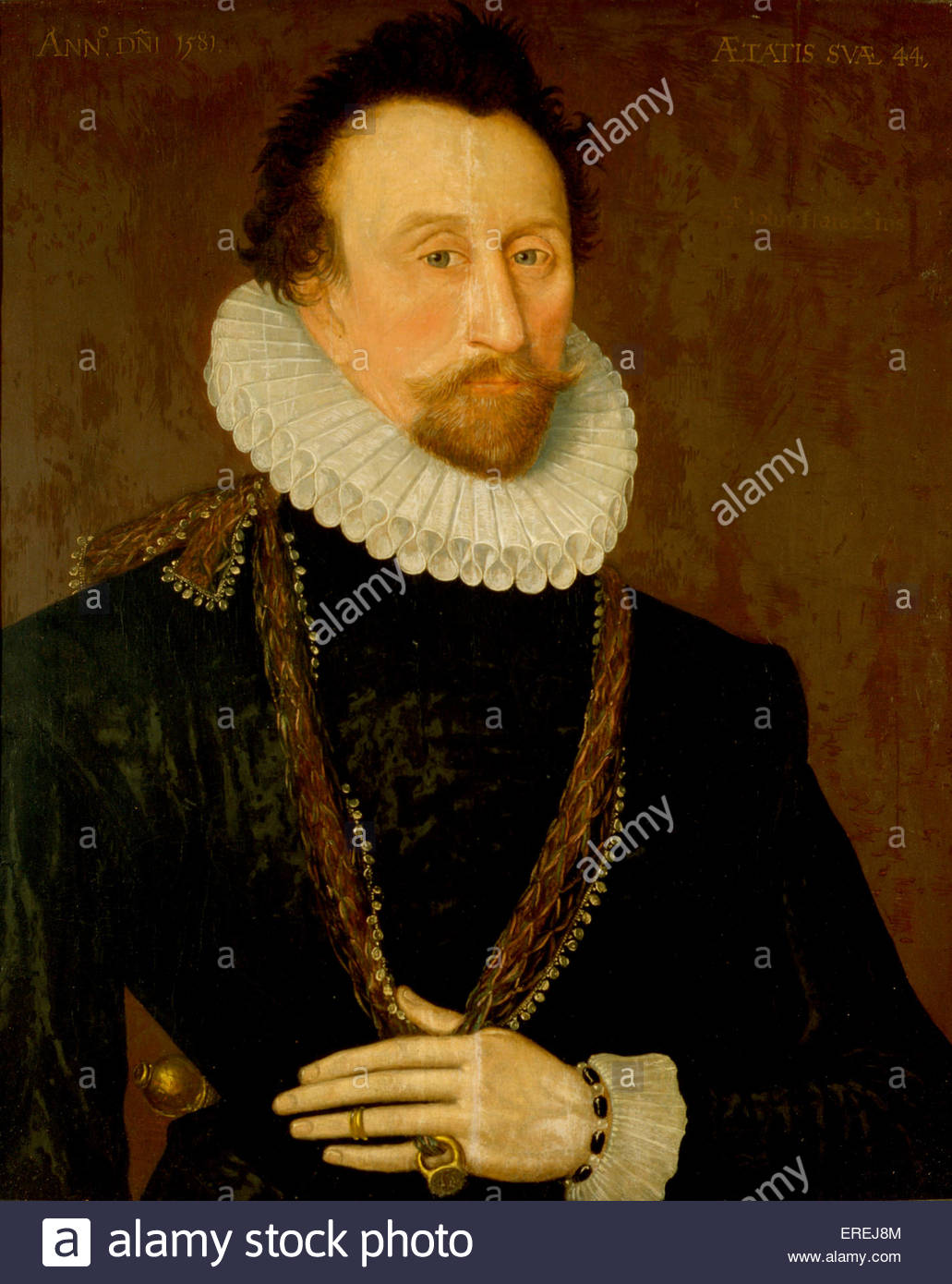 Portrait of Sir John Hawkins (1532 – 12 November 1595). English shipbuilder, naval administrator and commander, - Stock Image