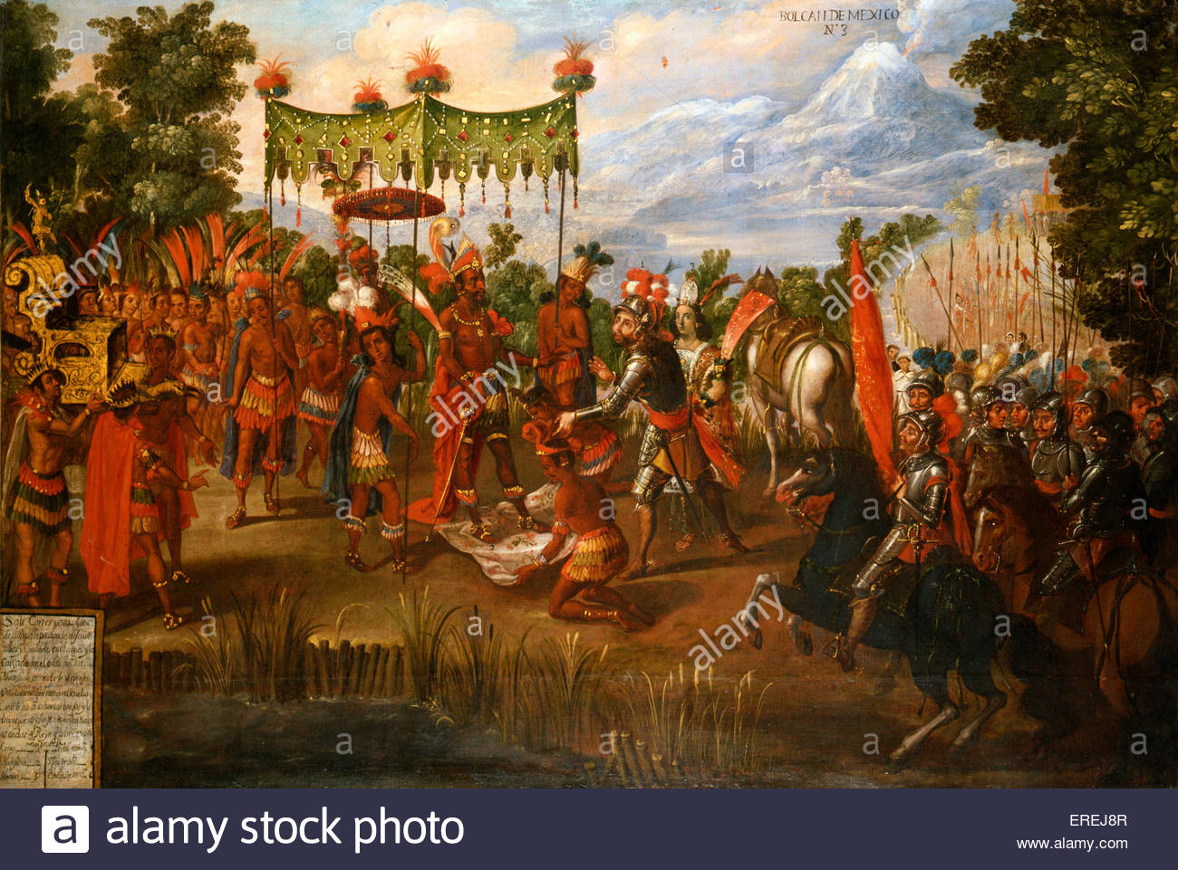 Hernan Cortes meets Emperor Moctezuma, 8 November 1519. Moctezuma ' s feet are protected from touching the ground; - Stock Image