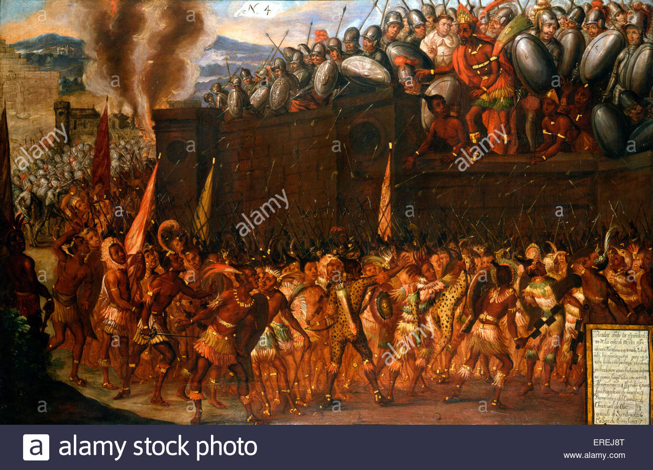 Emperor Moctezuma attacked by rebels - the fall of the Aztec Empire. After being held captive for more than six - Stock Image