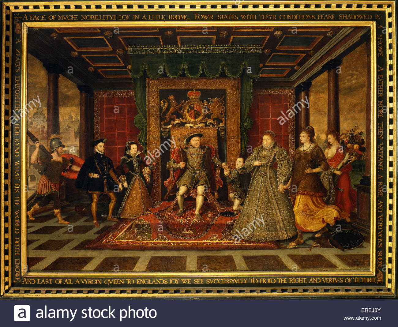 'The Family of Henry VIII, an allegory of the Tudor Succession'   by Lucas de Heere c.1572. Flemish painter - Stock Image