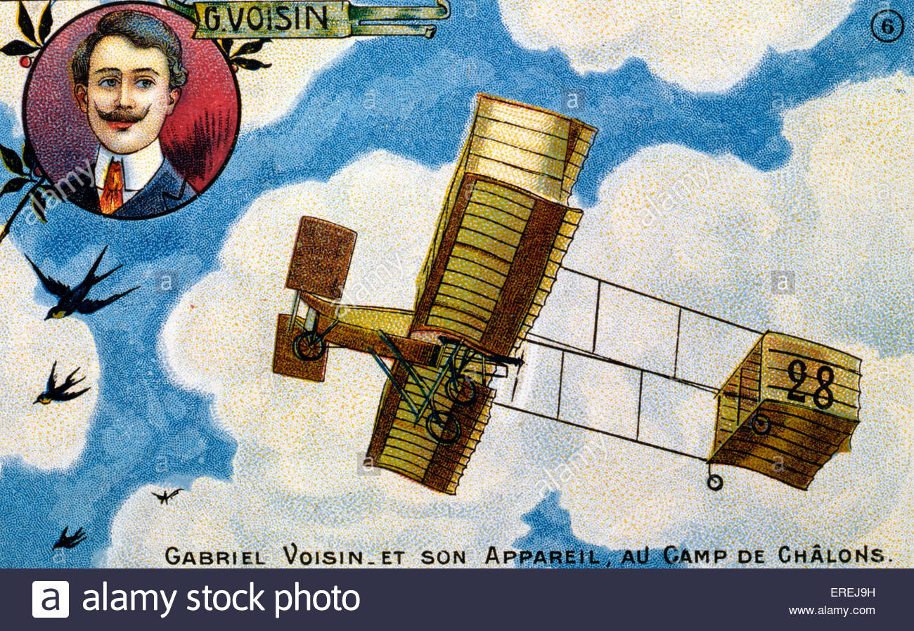 Gabriel Voisin, French pioneer aviator (5 February 1880 – 25 December 1973) - postcard of the early 1900 featuring - Stock Image