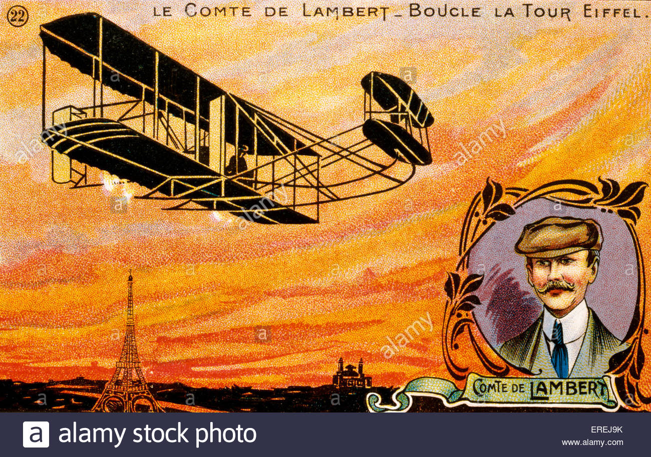 Count Charles de Lambert, French pioneer aviator (1865–1944) - postcard of the early 1900 featuring landmarks linked - Stock Image
