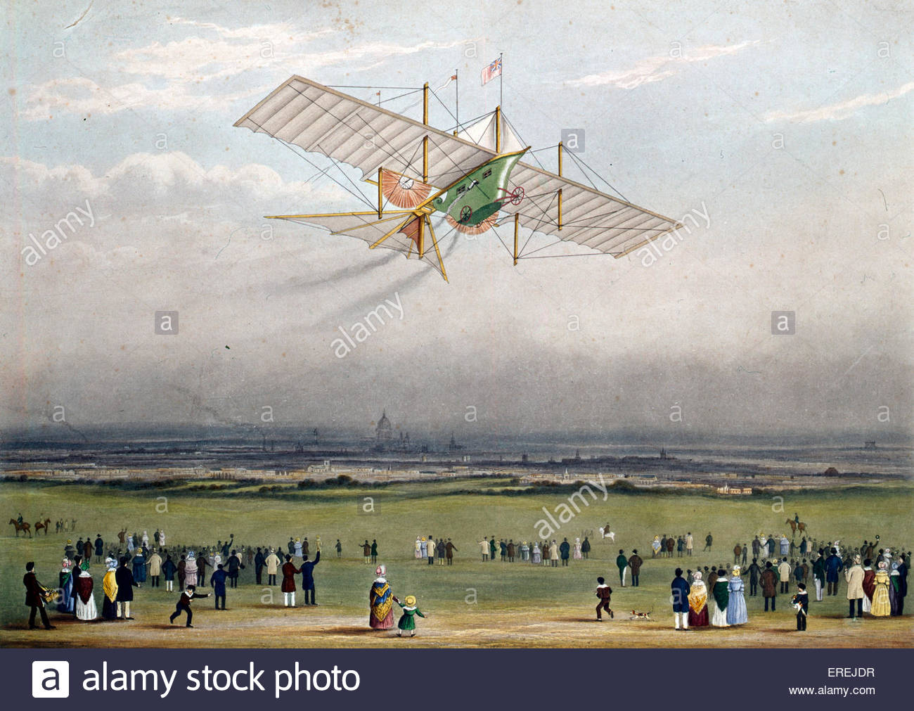 The first carriage, the ' Ariel ' or the Aerial Steam Carriage, a flying machine patented in 1842 by William - Stock Image