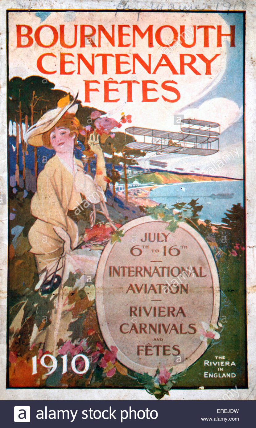 Bournemouth Centenary Fetes - International Aviation Meeting - Riviera Carnivals and Fetes, 6-16 July 1910. Programme - Stock Image