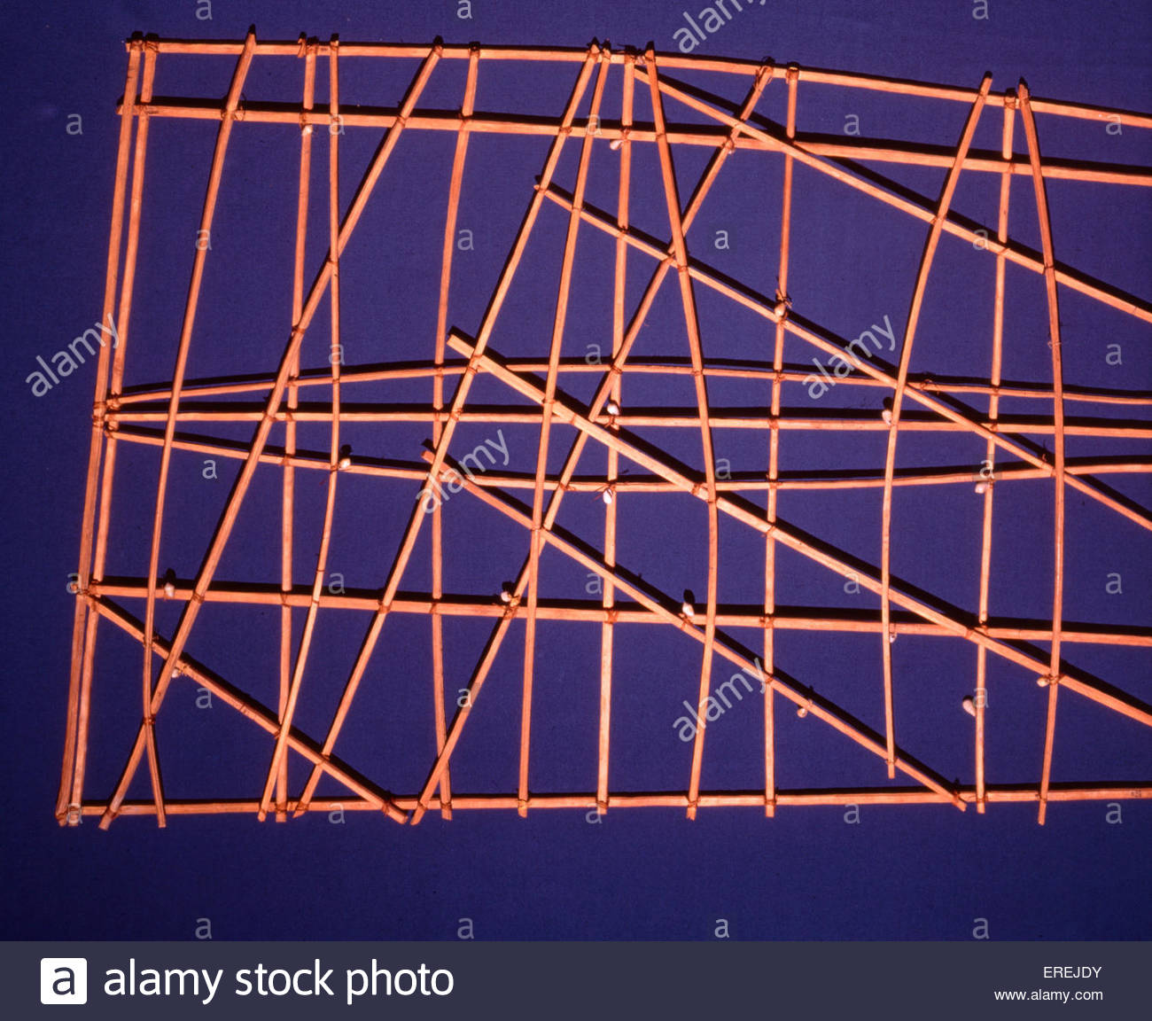 Polynesian bamboo navigation charts - a system of mapping ocean swells, sticks bound together with coconut sennit - Stock Image