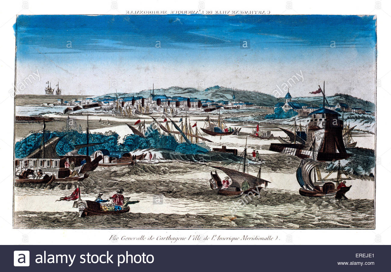 View over Cartagena. First published in 1670. Coloured version by J. Cercau c1750.  Courtesy of National Maritime - Stock Image