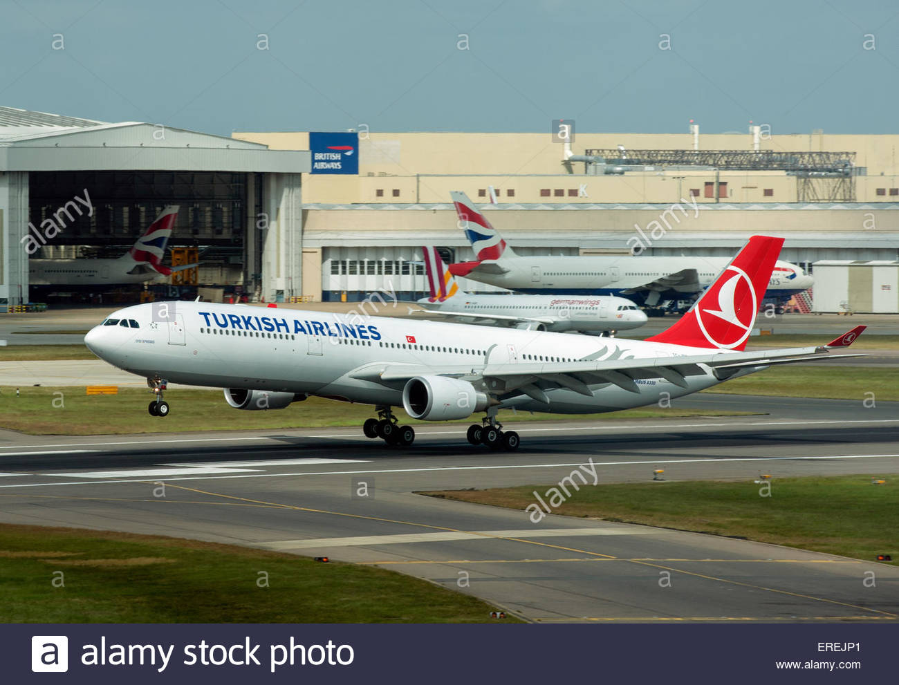 London UK Turkish Airlines Airbus A330 aircraft landing at London Heathrow Airport (LHR) - Stock Image