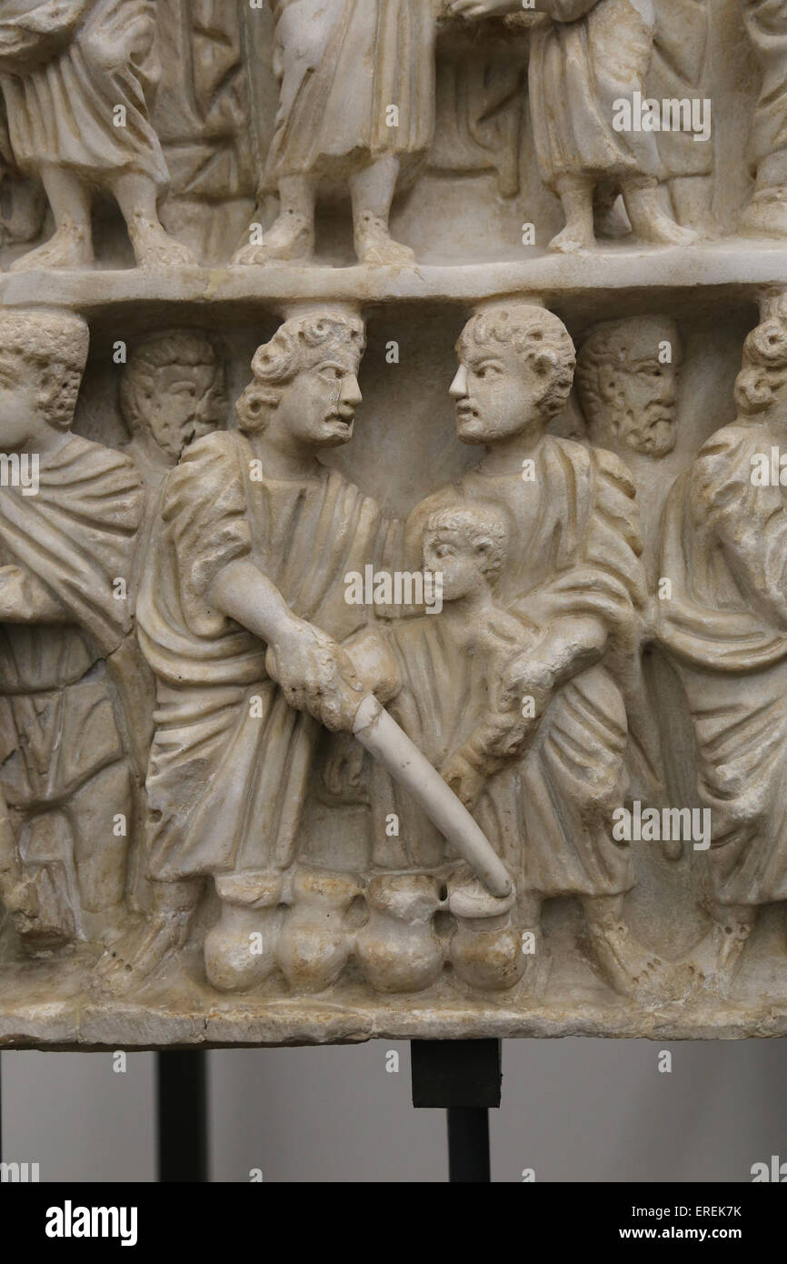 Miracle of Jesus. Turning water into wine. Marriage at Cana. Relief. Roman sarcophagus. Early Christian. 4th C. - Stock Image