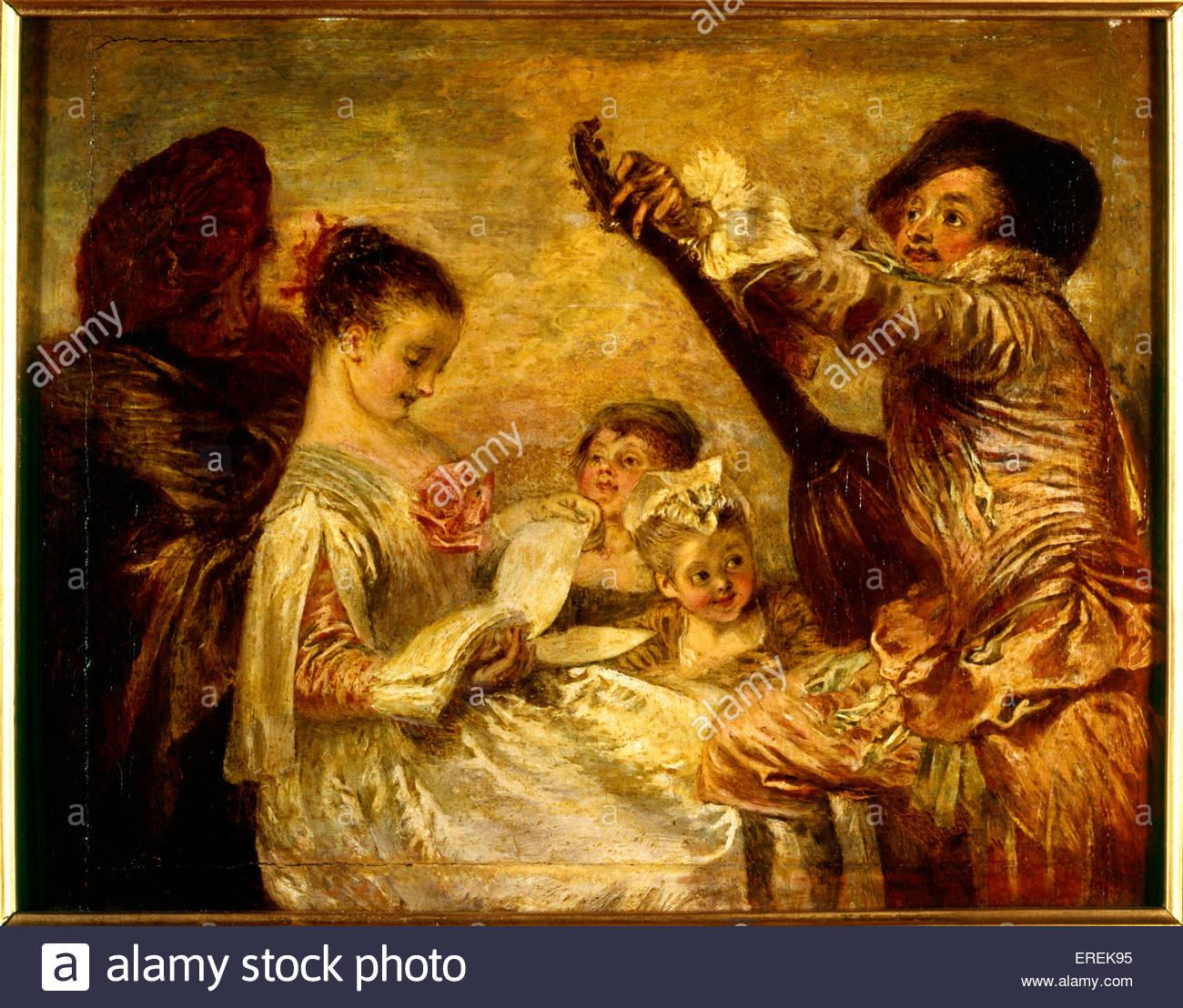 La Leçon de Musique (The Music Lesson) by Antoine Watteau, c. 1717-1718. Oil on pine panel with walnut strips. - Stock Image