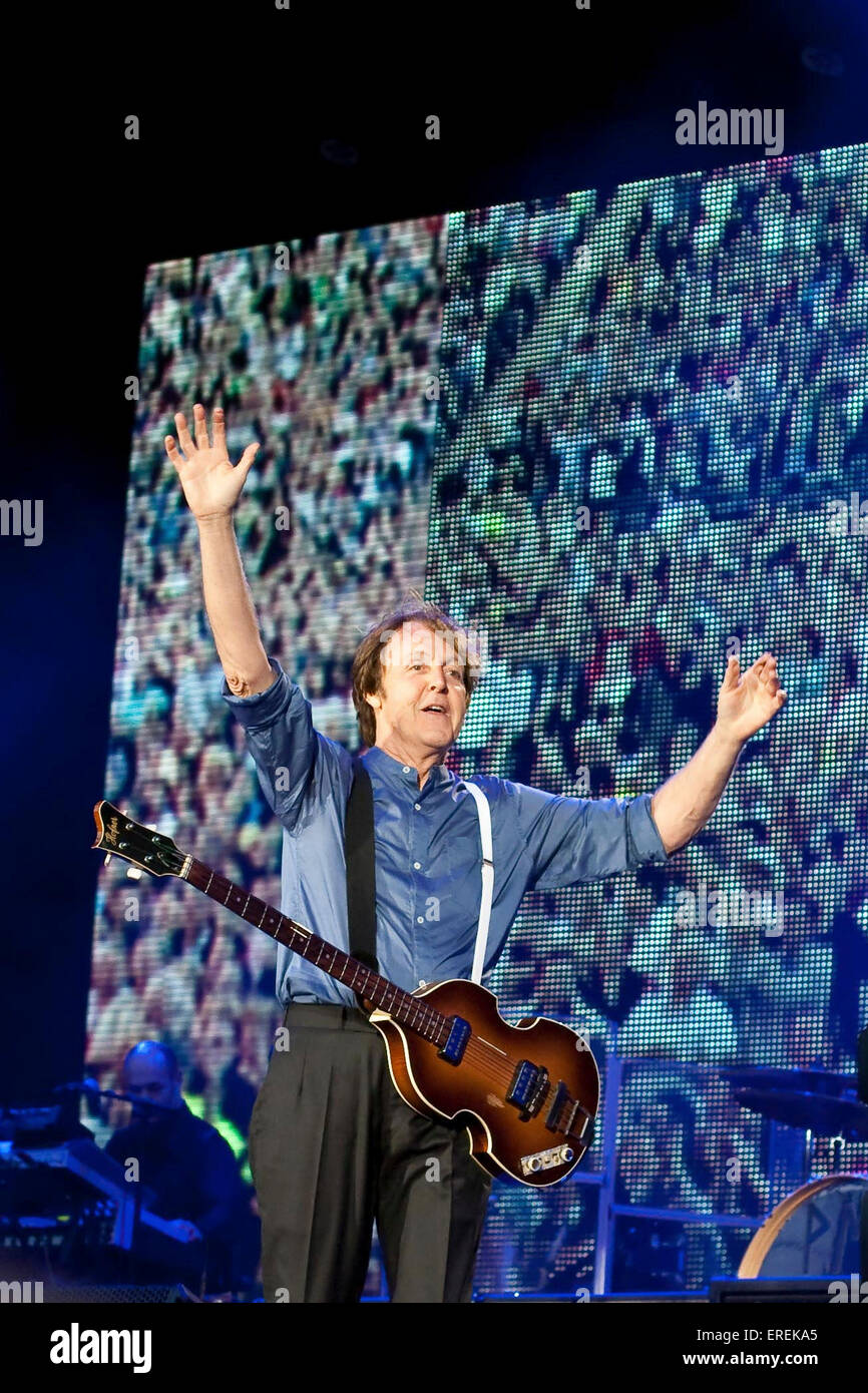 Sir Paul McCartney Performing In Hampden Park Glasgow Scotland UK 20 June 2010 PM English Singer Songwriter And Composer