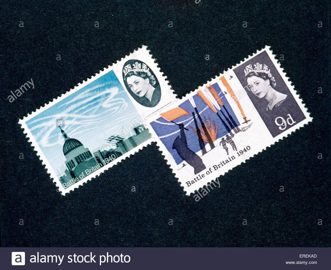 Battle of Britain stamps, commemorating events of Summer 1940. - Stock Image