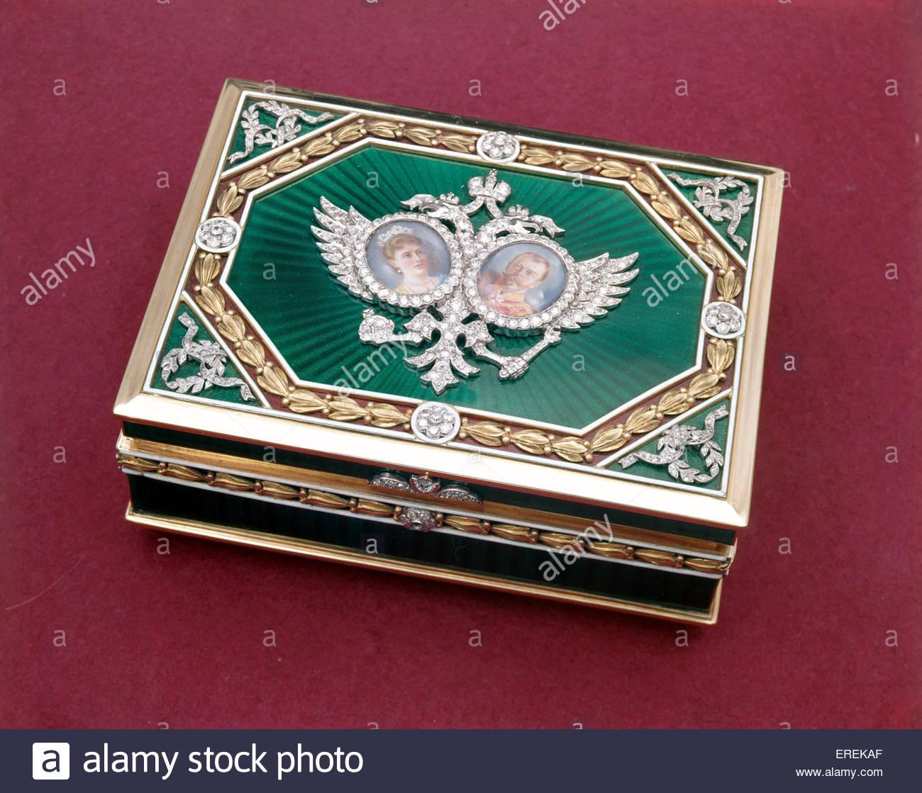 Romanov Tercentenary Box, made to mark tercentenary of Russian Romanov dynasty in 1913. With portraits of Nicholas - Stock Image