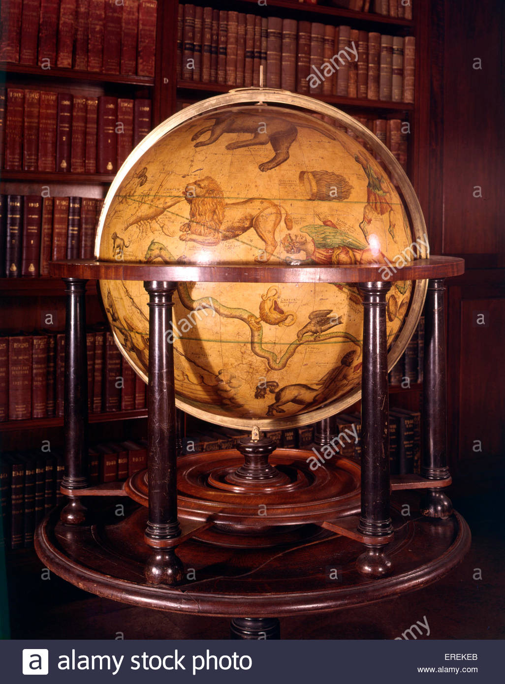 Celestial globe, made in the 16th or 17th century. With of depictions animals and other creatures representing signs - Stock Image