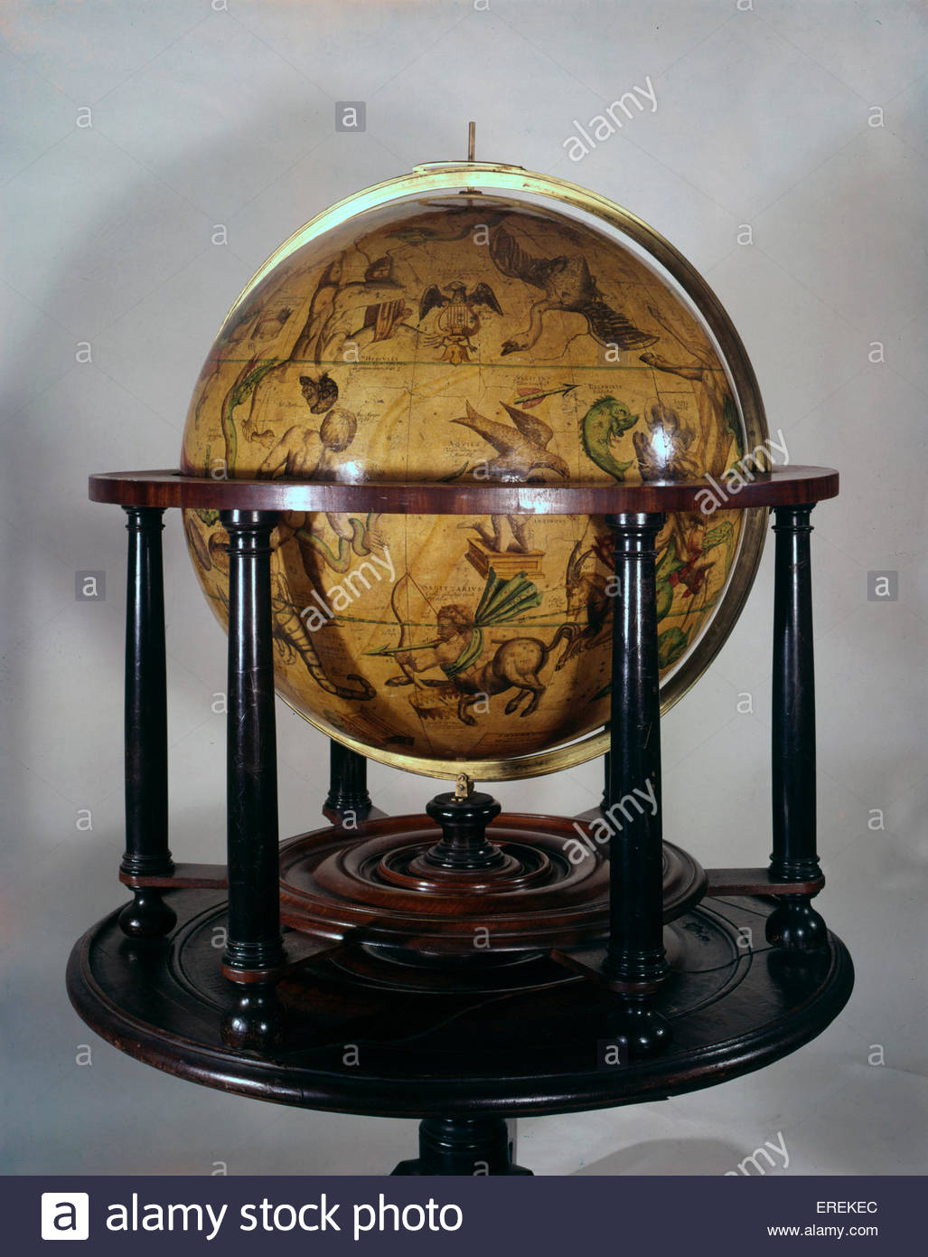 Celestial globe, made in the 16th or 17th century. With depictions animals and other creatures representing  signs - Stock Image