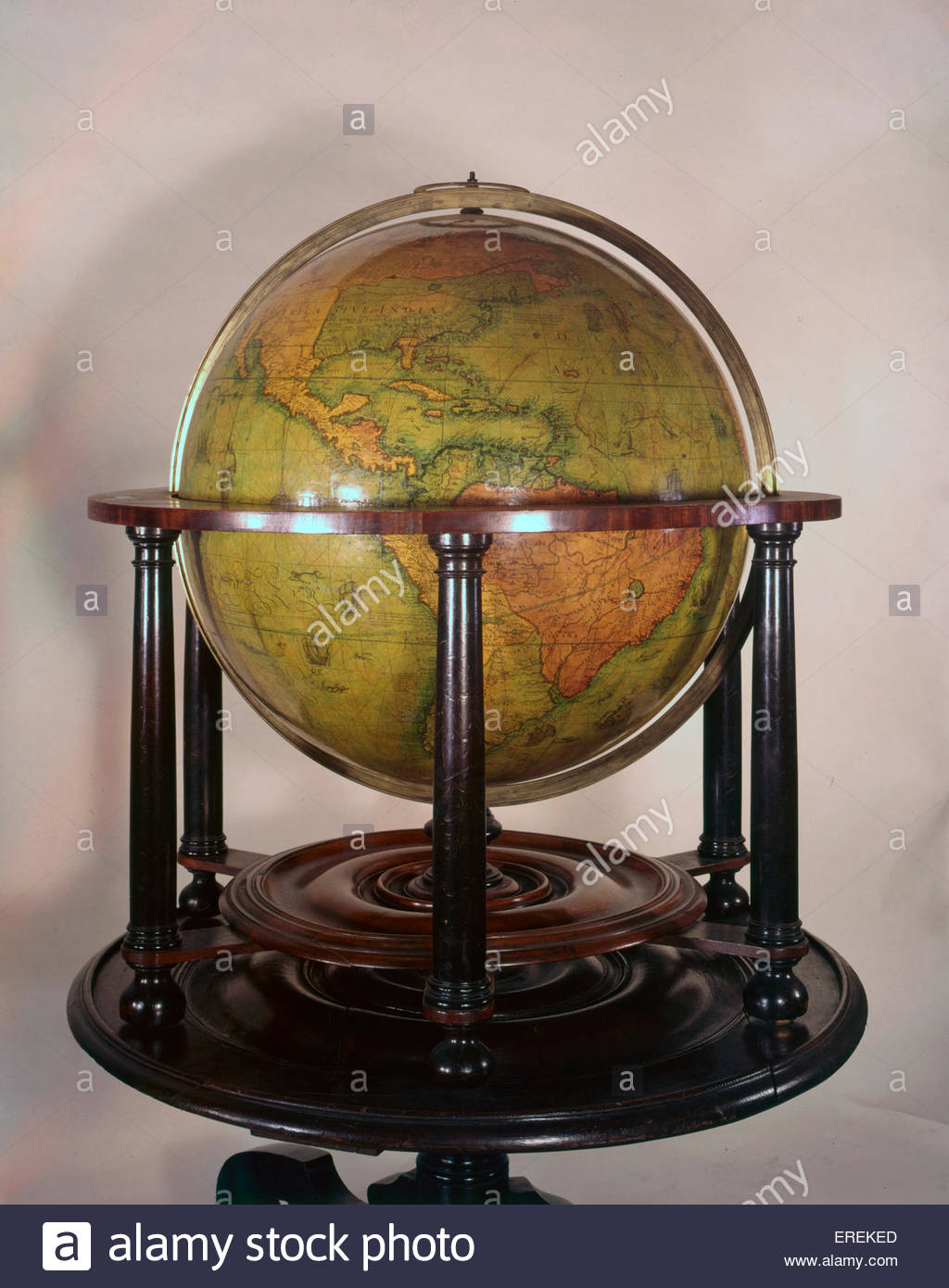 Globe, made in the 16th or 17th century. With depiction of modern day North and South America. (Middle Temple Library, - Stock Image