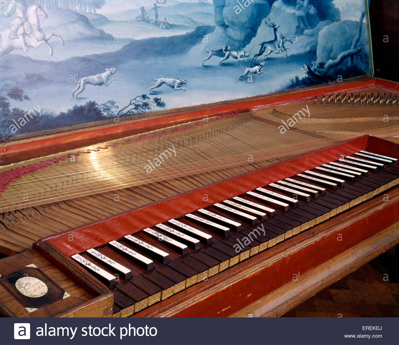 Clavichord  made by Barthold Fritz,  Germany, 1751 (1697-1766). (V&A Museum, London). - Stock Image