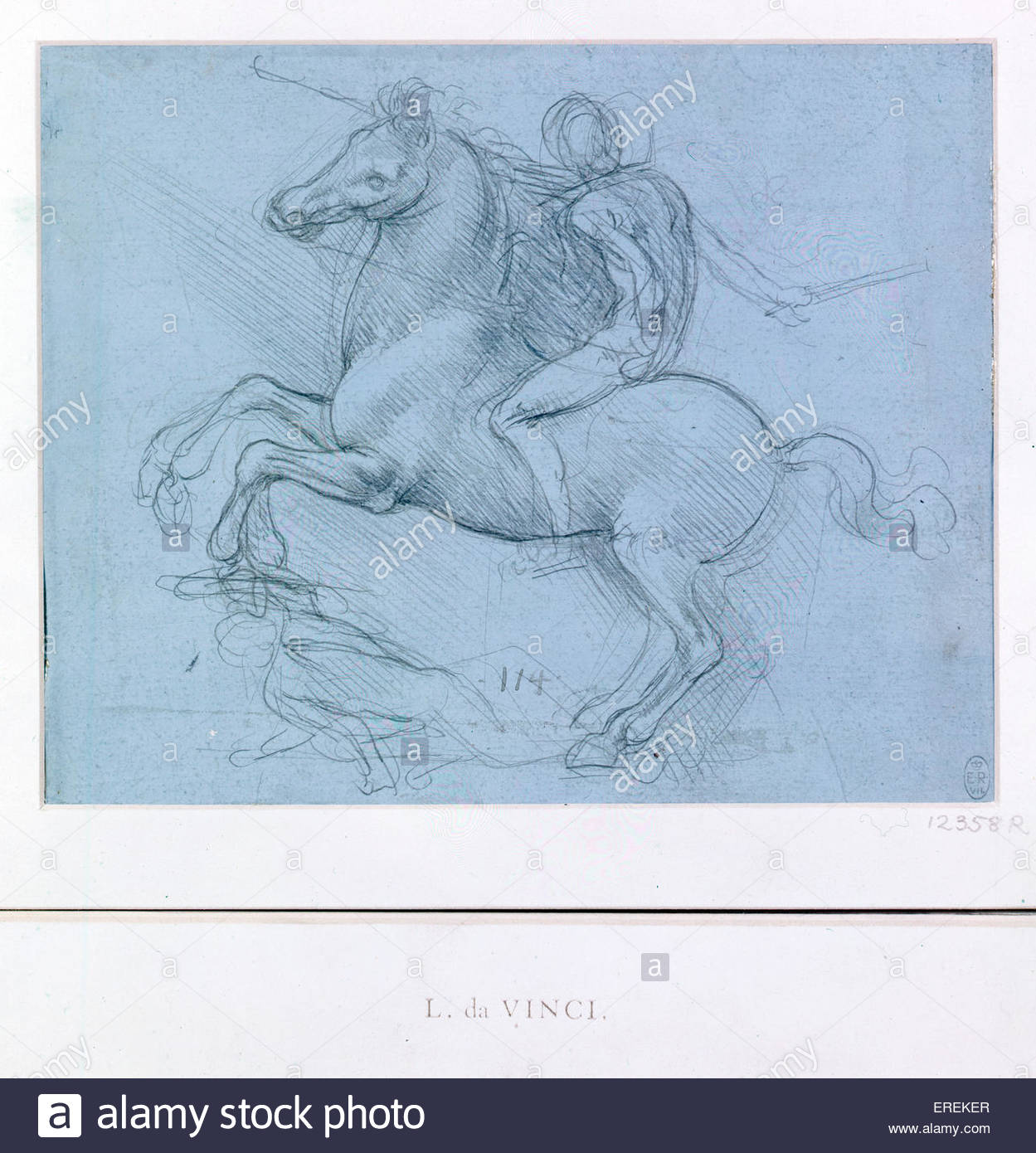 A study for an equestrian monument by Leonardo da Vinci, c.1485- 90. Courtesy of the Royal Collection. Italian artist - Stock Image