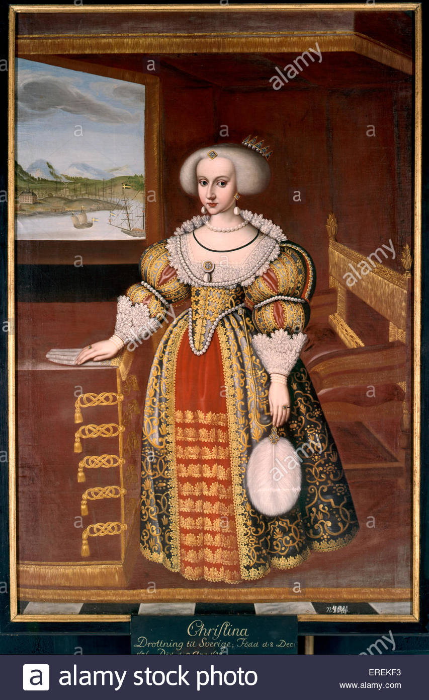 Christina as a child by Jacob Heinrich Elbfas  (1600- 1664). Christina, Queen on Sweden from 1632 to 1654 (1626 - Stock Image