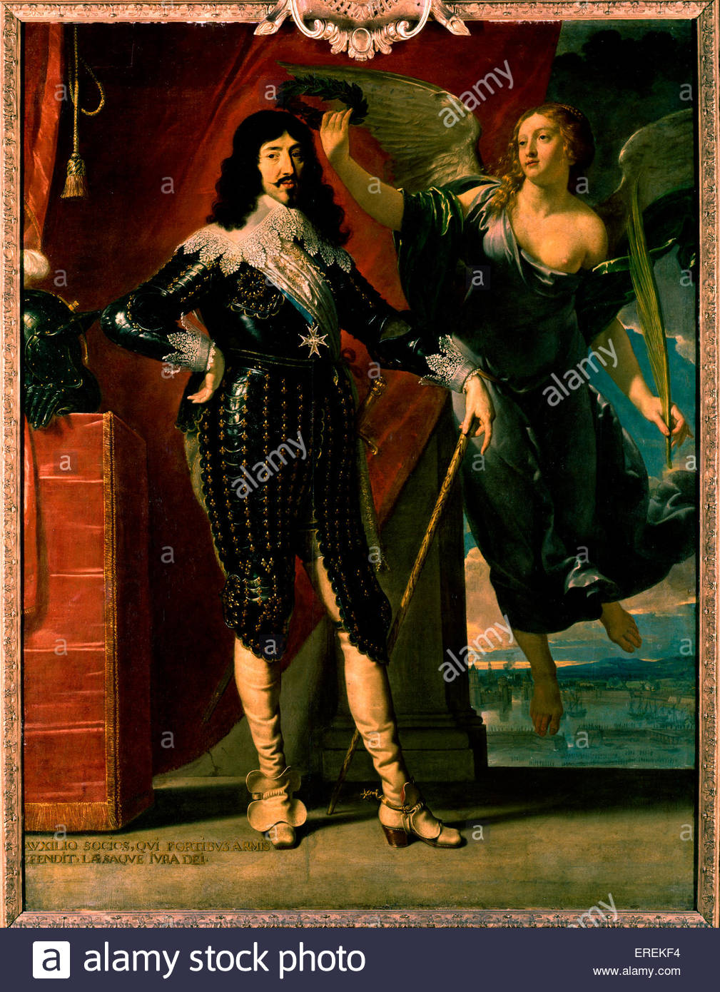 Louis XIII - portrait of his coronation by Victory. Painting by Philippe de Champaigne (1602 - 1674), National Museum, - Stock Image