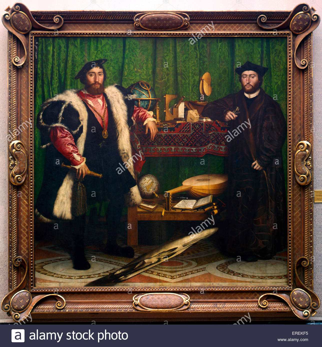 The Ambassadors by Hans Holbein the Younger, German artist and printmaker. 1533, oil on oak.  Jean de Dinteville, - Stock Image