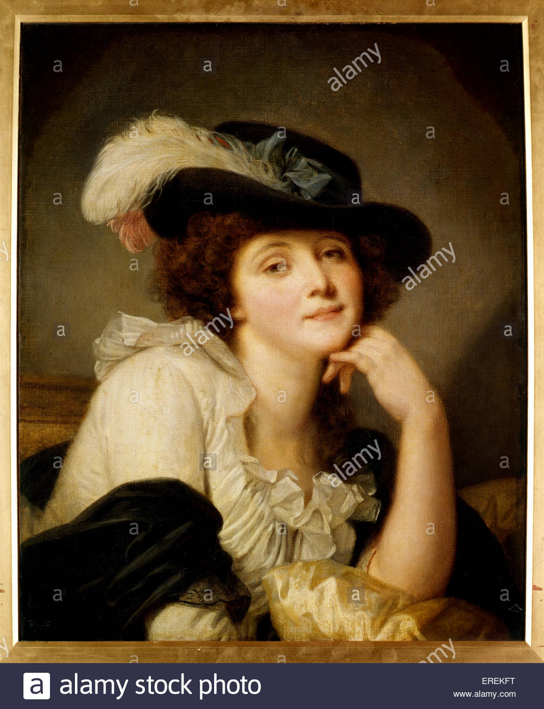 Portrait of Lady by Jean- Baptiste Greuze (1725 –  1805), French painter. Subject Sophie Arnould, French operatic - Stock Image